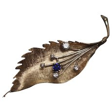 14k - .50 CTW - Sapphire & Diamond Floral Leaf Pin Brooch with Fancy Florentine Finish in Yellow Gold