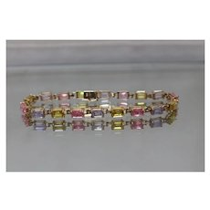 10k - Spring Easter Colorful CZ Link Tennis Bracelet in Yellow Gold