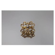 10k - Fancy Symmetrical Pin Brooch with 2mm Pearl - Signed with Patina in Yellow Gold