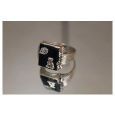 "10k - Art Deco Black Onyx & Diamond Initial "" A "" Signet Ring in Yellow Gold"