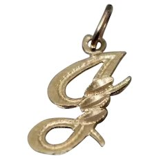 14k - Diamond Cut Script Initial J Pendant Charm in Yellow Gold