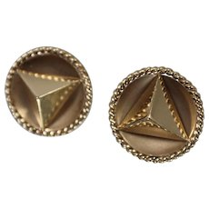 14k - Pair of 3D Pyramid Design with Round Bezel Design Cufflinks in Yellow Gold