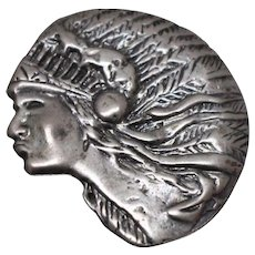 925 - Rare Hand Carved & Detailed Female Native American Chief Pendant Charm in Sterling Silver