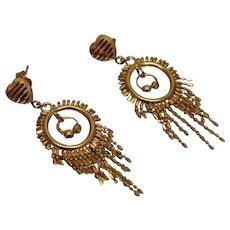 21k - Fancy Beaded Chandelier Double Dangle Earrings in Bright Yellow Gold