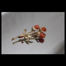 14k - Rose Pin with Carved Coral Flower Petals in Yellow Gold
