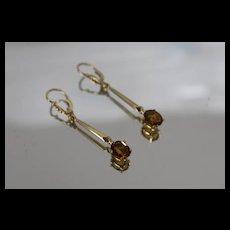 18k - 1.70 ct - Citrine Leverback Dangle Drop Earrings in Yellow Gold