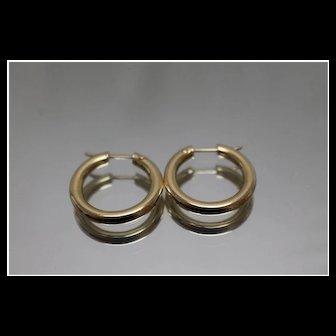 14k - Smooth Plain Hoop Earrings in Yellow Gold