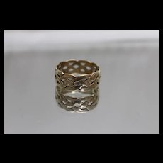 14k - Celtic Weave Overlapping Cutout Eternity Wide Band in Yellow Gold