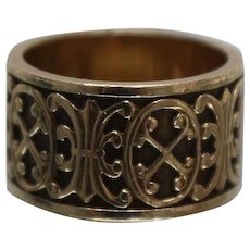 14k - Victorian Revival Wide Symmetrical Alternating Raised Design Band in Yellow Gold