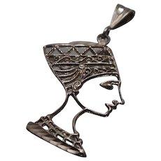 925 - Filigree Cutout Lattice Design Nefertiti Egyptian God Pendant Charm in Sterling Silver