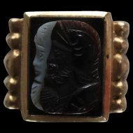 10k - Art Deco Intaglio Black Onyx & Carved Tiger's Eye Double Gladiator Solider Head Ring in Yellow Gold