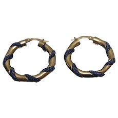 14k - Designer Style Twisted Hoops with Blue Textile Twist in Yellow Gold