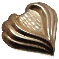 14k - Step Design Diamond Cut 3D Heart Slide Pendant Charm in Yellow Gold