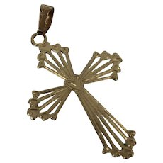 14k - Fancy Beaded Design Cross Pendant Charm in Yellow Gold