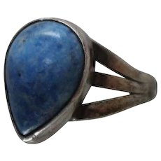 925 - Teardrop Pear Shape Blue Lapis in Bezeled Mounting Ring in Sterling Silver