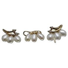 10k - Fresh Water Pearl Matched Earring & Pendant Set in Yellow Gold