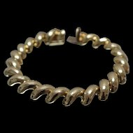 """14k - 8"""" - Peruvian Grooved San Marco Link Bracelet in Bright Yellow Gold"""