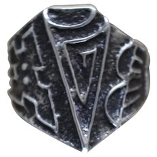 925 - Vintage Ornate Fancy Tribal Southwestern Handmade Ring in Sterling Silver