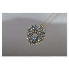 10k - 3.00 ctw - Blue Topaz December Birthstone Open Heart Necklace Pendant Charm in Yellow Gold