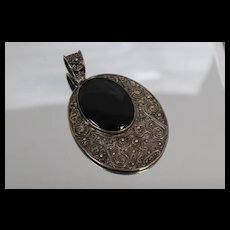 925 - Large Onyx High Relief Swirl Lacey Design Pendant Charm in Sterling Silver