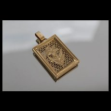18k - Framed Screen with Flower Floral Overlay Pendant Charm in Rich Yellow Gold