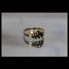 14k - Abstract Smooth Black Onyx Contoured Ring in Yellow Gold