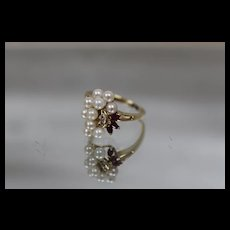 18k - .25 ct - Elegant Diamond, Ruby & Pearl Cluster Style Bypass Cocktail Ring in Rich Yellow Gold