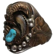 925 - Southwestern Native American Signed JJ Turquoise & Brass Detailed Ring in Sterling Silver