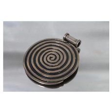925 - Vintage Mexico Large Spiral Swirl Hypnotizing HOB Pendant in Sterling Silver