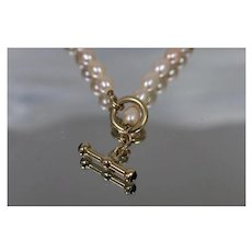 """14k - 18"""" - Strand of Faint Pink Pearls with Ornate Toggle Clasp in Yellow Gold"""