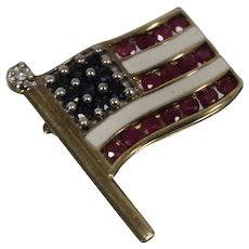 10k - .50 ctw - Diamond, Ruby, & Sapphire American Flag 9/11 Pin National Flag Patriotism in Yellow Gold