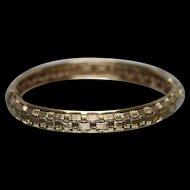 14k - Woven Basket Style Hinged Bangle Cuff Bracelet in Yellow Gold