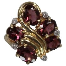 14k - 4.60 ctw - Pink Tourmaline Nouveau Style Ribbon Cluster Ring in Yellow Gold