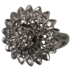 14k - .76 ctw - Art Deco Floral Flared Diamond Cluster Ring in White Gold