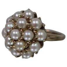 10k - Early 1900's Pearl Cluster Cocktail Graduated Dome Style Ring in Yellow Gold