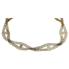 """18k - 7.25"""" - 3 Strand Ornate Beaded Link with Overlapping Wavy Design Bracelet in Yellow Gold"""