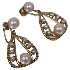 14k - Twisted Non-Pierce Chandelier Style Pearl Dangle Drop Earrings in Yellow Gold