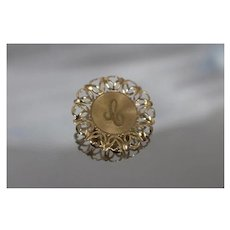 """14k - Scalloped Edge Initial Brooch with Letter """"C"""" or """"J"""" in Yellow Gold"""