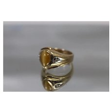 10k - Retro Cabochon Orange Tiger's Eye Stone with Diamond Accents and Brushed Finished Ring in Yellow Gold