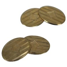 10k - Art Deco Cufflinks with Damacening Design & Spot for Engraving in Yellow Gold