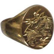 18k - Signet Style Etched Dragon Design Ring in Bright Yellow Gold