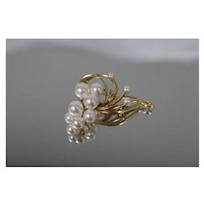 18k - High luster Pearl Cluster Bouquet Ribbon Style Pin Brooch in High Karat, Rich Yellow Gold