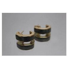 14k - Marbalized Grey Inlay Half Hoop Dangle Drop Earrings in Yellow Gold