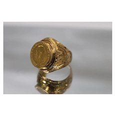 20k - Hand Made Ornate British Sovereign Coin Ring with Eagle Designed Sides in Bright Yellow Gold