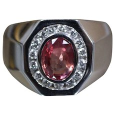 18k - 1.98 CTW Padparadscha Sapphire Diamond Ring in White Gold