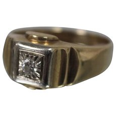 14k - .10 ct - Mens Transitional Cut Diamond Solitaire Ring in Yellow & White Gold