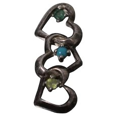 925 - Vintage Triple Heart w/ Green Blue Yellow Stones Pendant Slide & Patina in Sterling Silver