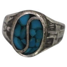 925 - Vintage Crushed Turquoise Southwest Native American Cross & Eagle Ring in Sterling Silver
