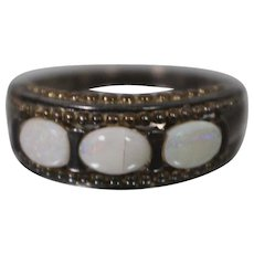 925 - Vintage Opal Beaded Mount Ring Band in Sterling Silver