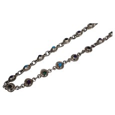 925 - Vintage Mexico Southwest Multi Stone Necklace in Sterling Silver